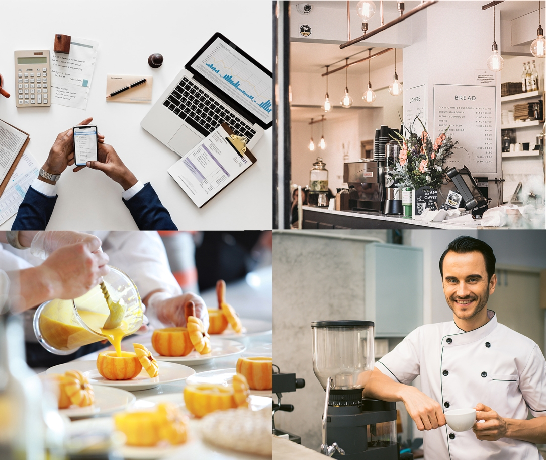 Diplômés d'école de commerce et nourriture travaillés, restaurant concept original